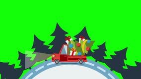 Vrachtwagen van het leverings de vlakke vervoer, bestelwagen met Kerstmisboom royalty-vrije illustratie
