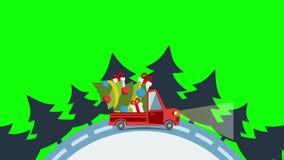 Vrachtwagen van het leverings de vlakke vervoer, bestelwagen met Kerstmisboom stock illustratie