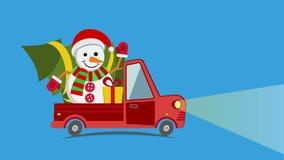 Vrachtwagen van het leverings de vlakke vervoer, bestelwagen met sneeuwman vector illustratie