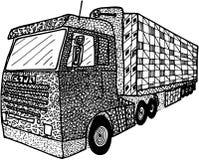 Vrachtwagen in zentangle wordt geïllustreerd die Stock Foto's