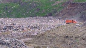 Vrachtwagenaandrijving door de stortplaats Vele vogelsvlieg rond stock footage