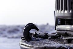 Vrachtwagenbumper op de winterachtergrond stock afbeeldingen