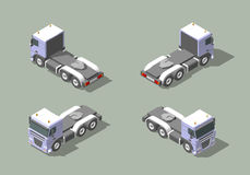 Vrachtwagencabine in vector grafisch de illustratieontwerp van het vier meningen isometrisch pictogram Infograficelementen royalty-vrije stock fotografie