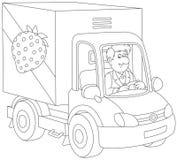Vrachtwagenchauffeur die goederen leveren Royalty-vrije Stock Fotografie