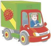 Vrachtwagenchauffeur die goederen leveren Stock Foto