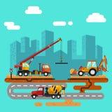Vrachtwagenkraan, concrete mixer en bulldozer Royalty-vrije Stock Foto's