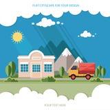 Vrachtwagenlevering van goederen kant van de wegwinkel op een achtergrond van mounta Stock Afbeeldingen