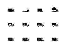 Vrachtwagenpictogrammen op witte achtergrond Stock Afbeeldingen