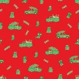 Vrachtwagens, auto's, Kerstmisgiften en suikergoedpatroon royalty-vrije stock afbeelding