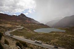 Vrachtwagens in de Andes Royalty-vrije Stock Fotografie