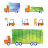 Vrachtwagens en forklifts Royalty-vrije Stock Foto