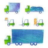 Vrachtwagens en forklifts Stock Fotografie