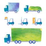 Vrachtwagens en forklifts Stock Afbeeldingen