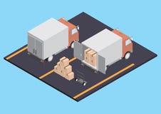 Vrachtwagens met dozen Royalty-vrije Stock Foto's