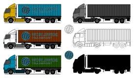 Vrachtwagens met verschepende containers royalty-vrije illustratie