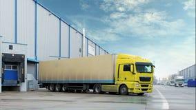 Vrachtwagens in pakhuis - tijdtijdspanne stock videobeelden