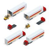 Vrachtwagens Vector isometrisch vervoer Bedrijfsvoertuig Leveringsvrachtwagen De vlakke de leveringsdienst van de stijl vectorill Royalty-vrije Stock Foto's