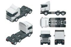 Vrachtwagentractor of opleggervrachtwagen Menings voor, achter, zij, hoogste en isometry voorzijde, rug Lading die voertuig lever royalty-vrije illustratie
