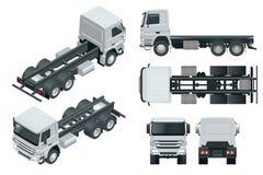 Vrachtwagentractor of opleggervrachtwagen Weergeven voor, achter, zij, hoogste en isometrische voorzijde, rug Lading die voertuig vector illustratie