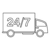 24 7 vrachtwagenvervoersdienst Stock Afbeeldingen