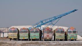 Vrachtwagenvloot op het zout werk van Gujarati Stock Afbeeldingen