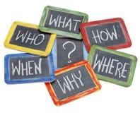 Vragen, brainstorming die, besluit - maken Stock Afbeelding