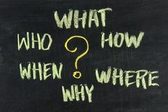 Vragen, brainstorming die, besluit - maken Stock Foto