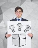 Vragen in de doos Stock Foto's