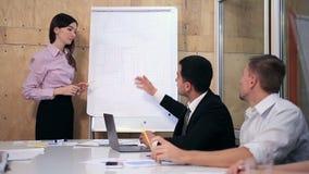 Vragen en antwoorden tijdens bedrijfspresentatie stock videobeelden