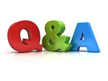 Vragen en antwoordenconcept Q en a-woord Royalty-vrije Stock Foto's
