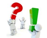 Vragen en antwoordenillustratie, met 3d mensen op wit Royalty-vrije Stock Fotografie