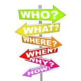 Vragen over Pijl Sgns - Richting Stock Afbeeldingen