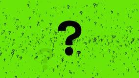 Vragentekens op het Groene Scherm worden geanimeerd dat 4K stock video