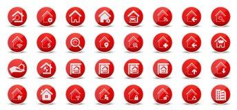 Vrai état et icônes à la maison de Web illustration libre de droits