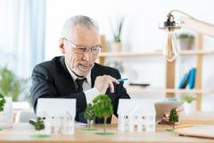 Vrai agent immobilier satisfaisant souriant tout en finissant son travail Photo libre de droits
