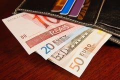 Vrai brésilien, euro et dollars Images libres de droits