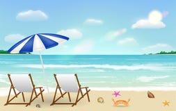 Vrai détendez la chaise sur le fond de plage de sable de mer illustration de vecteur