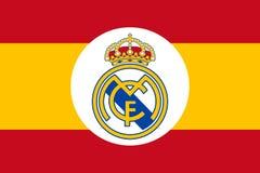 Vrai emblème de club sur le drapeau de l'Espagne illustration de vecteur