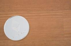 Vrai fond argenté d'Ethereum Image libre de droits