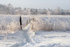 Vrai hiver russe Paysage d'hiver avec la traînée à travers le pont suspendu rural dangereux au-dessus de la rivière brumeuse de M Images libres de droits