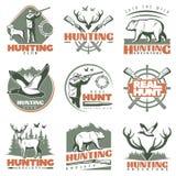 Vrai Hunt Emblem Set Photographie stock