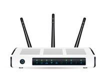 Vrai routeur de modem de wifi de 3d ADSL sur un fond blanc Images libres de droits