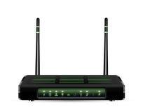 Vrai routeur de wifi d'ADSL 3d sur un fond blanc Photo libre de droits