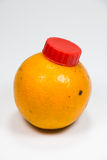 Vraie bouteille orange de fruit Images stock