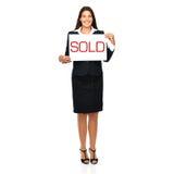 Vraie femme d'agent immobilier vendue Images libres de droits