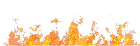 Vraie ligne des flammes du feu d'isolement sur le fond blanc Maquette sur le blanc du mur du feu images stock