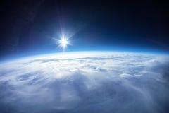 Vraie photo - près de la photographie de l'espace - 20km au-dessus de la terre Photos stock