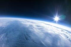 Vraie photo - près de la photographie de l'espace - 20km au-dessus de la terre Photos libres de droits