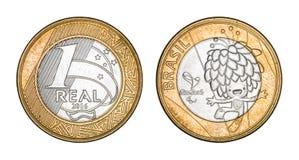 Vraie pièce de monnaie de Brésilien de ` du ` le commémoratif image libre de droits
