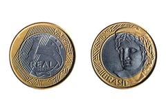 Vraie pièce de monnaie brésilienne image libre de droits